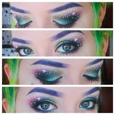 Amazing galaxy makeup by Neon Creations!#eyeshadow #eyeliner #stars
