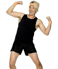 rally man: track shorts and sweatbands/wristbands