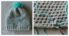 Here is an Easy Diagonal Hatch Slouchy Hat Free Crochet Pattern for you to create your own hat. What's special about the design of the hat is the pompom on the top.