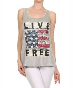Look at this #zulilyfind! Kokette Gray 'Live Free' Racerback Tank by Kokette #zulilyfinds