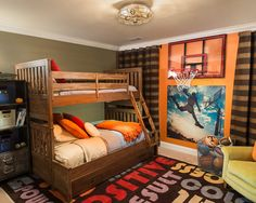 Awesome Decorating Ideas for Boys Bedroom in Contemporary Home : Breathtaking Decorating Ideas For Boys Bedroom With Wood Bunk Beds And Bask...