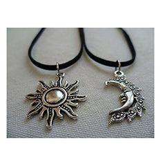 $3.85---Sun and Moon Choker Set,set of 2 ,Best Friends,sun and Moon Necklace  Set, gift, friendship, sun Choker,moon Choker,wiccan,sun and Moon Jewelry