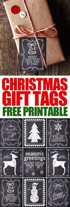Christmas gift tag FREE PRINTABLES! Love how these are just black and white. Cheap copies from Kinkos!