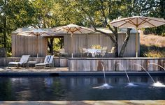Pool with fountains at the Napa Knoll Residence by Turbull Griffin Haesloop Architects