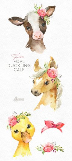 drawings - Farm Foal Calf Duckling Watercolor little animals clipart, baby cow horse duck, country, flowers, k Baby Cows, Baby Horses, Baby Baby, Baby Elephants, Baby Animal Drawings, Cute Drawings, Watercolor Images, Watercolor Animals, Watercolor Horse