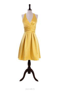 Neautiful Satin Halter V-neck Dress $110.98