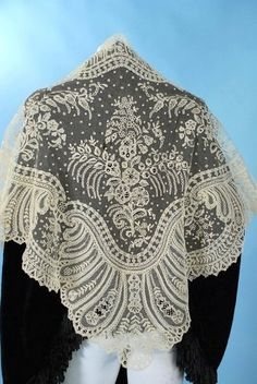 Vintage Lace Shawl offered on Ebay.  Point de gaze lace