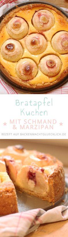 Bratapfelkuchen mit Schmand und Marzipan: der Bratapfel-Kuchen ist ein wunderbar aromatischer Herbst-Winter-Kuchen mit ganzen Äpfeln.