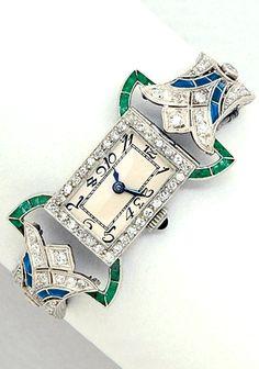 Art Deco Diamond and Platinum Wristwatch
