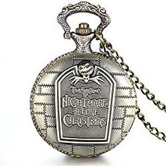 "JewelryWe Retro Bronze Tim Burton's Nightmare before Christmas Engraved Quartz Pocket Watch Necklace Locket Pendant 31"" Chain (with Gift Bag)"