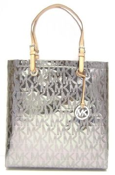 MICHAEL Michael Kors Mirror Metallic Item North South Tote (Nickel)