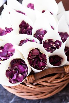 Petals for guest to throw at bride and groom.