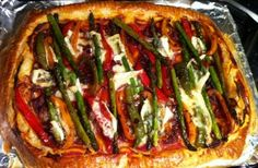 Sweet vegetable and blue brie tart Think of this tart as a vegetarian pizza with a puff pastry base. Simply roll out a pack of ready-made puff pastry, spread it with a tomato base, then layer it with crunchy par-cooked vegetables and so
