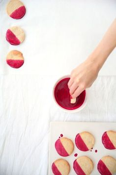 Lemon cookies with a beet glaze