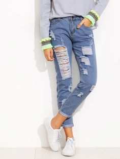 Long Zipper Fly. Jeans Low Waist. Trend of Spring-2018, Summer-2018. Designed in Blue. Fabric has no stretch.