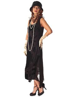 1920s Style Black Crepe Velvet Party Dress. Great reproduction style. Great price.