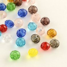 200pcs Faceted Abacus Transparent Glass Beads Mixed Color 4x3mm Jewelry Making