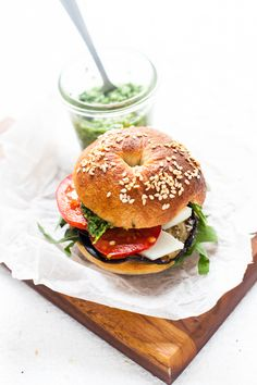 Bagels with Aubergine, Pesto, Tomato and Goat's Cheese #WOWfoodanddrink