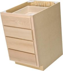 "Quality One™ 18"" x 34-1/2"" Unfinished Oak 4-Drawer Base Cabinet"