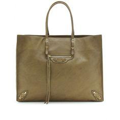 I wanna to get something special like this Balenciaga PAPIER TOTE Best Handbags, Large Handbags, Handbags Online, Luxury Fashion, Womens Fashion, Ladies Fashion, Designer Totes, Green Fashion, Military Green