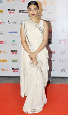 Radhika Apte at the opening ceremony of the MAMI Film Festival. #Bollywood #MAMI2015 #Fashion #Style #Beauty #Hot #Desi #Saree #Marathi