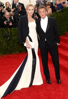 Charlize Theron and Sean Penn at the Costume Institute Gala at the Metropolitan Museum of Art on May 5, 2014 in New York City
