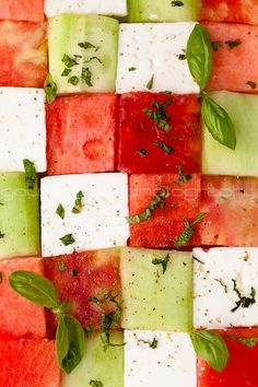 Watermelon, tomato and feta salad - want now!