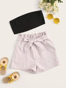 To find out about the Girls Solid Bandeau & Paperbag Waist Striped Shorts Set at SHEIN, part of our latestGirls Two-piece Outfits ready to shop online today! Teenage Outfits, Cute Girl Outfits, Cute Summer Outfits, Cute Casual Outfits, Outfits For Teens, Girls Fashion Clothes, Teen Fashion Outfits, Girl Fashion, Preteen Fashion