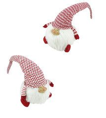 """31"""" 2 Assorted Sitting Red and White Gnome Couple"""