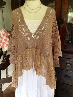 Luv Lucy crochet shrug Lucy's Mocha Rose by TheVintageRaven, $140.00