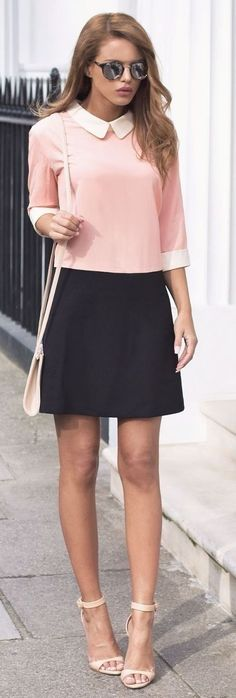 fashion trends / pink top black skirt bag heels
