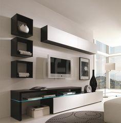 Amsterdam Modern Wall Unit by Creative Furniture Living Room Tv Unit Designs, Wall Unit Designs, Tv Unit Decor, Tv Wall Decor, Tv Cabinet Design, Tv Wall Design, Ideas Decorar Habitacion, Tv Wanddekor, Tv Unit Furniture