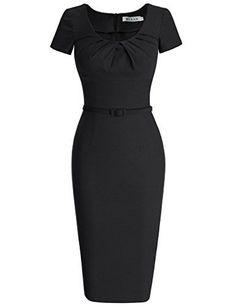 MUXXN Women's 1950s Vintage Short Sleeve Pleated Pencil Dress - http://www.darrenblogs.com/2016/10/muxxn-womens-1950s-vintage-short-sleeve-pleated-pencil-dress/