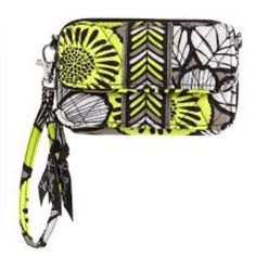 Vera Bradley all in one crossbody in citron This is a brand new never used Vera Bradley all in one crossbody in citron. It has the tag I purchased with it, but it's an incorrect color on the tag. The all in one has a magnetic closure pocket in the front great for phones, pockets inside for credit cards, and id and a coin zippered pocket. It comes with a long adjustable strap to be worn as a crossbody along with a wristlet strap Vera Bradley Accessories
