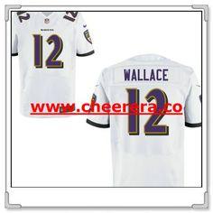Men s Baltimore Ravens  12 Mike Wallace White Road Stitched NFL Nike Elite… 73994e8d8