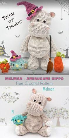Melman - Amirugumi Hippo [Free Crochet Pattern] Ami Hippopotamus, Softie, Crochet Toys Follow us for ONLY FREE crocheting patterns for Amigurumi, Toys, Afghans and many more!