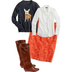 """""""J. Crew Frenchie Sweater and No. 2 Pencil Skirt in Corkscrew Tweed"""" by jcrewismyfavstore on Polyvore"""