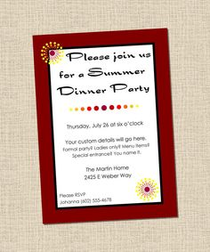 Join us for a dinner party printable invitation customize add summer dinner party custom printable invitation by fortysevendesign 900 stopboris Choice Image