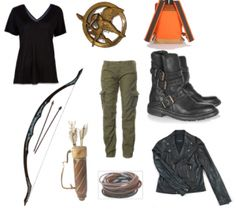 Katniss Everdeen from ?The Hunger Games? For extra credit I have to dress up as a literary character--Katniss it is! Does anyone have a toy bow and arrow I can borrow? Katniss Costume, Hunger Games Costume, Hunger Games Outfits, Fandom Outfits, Costume Halloween, Cool Costumes, Halloween Man, Costume Ideas, Halloween Clothes