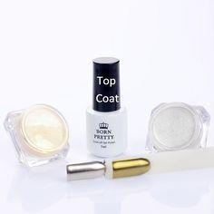 3 Teile/satz Shinning Splitter Gold Nagel Glitter Pulver & 5 ml Decklack Nagelkunst Chrom Pigment Glitters Dekorationen