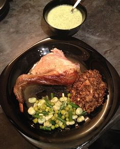 Indian pot roast chicken with lentil dal, pea & bean salad and yoghurt, mint & coriander pickle