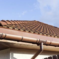 Close-up of terracotta roof tiles on a home