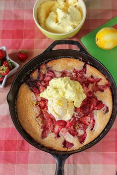 strawberry cobbler with lemon cream  + 9 other fresh and delicious summer desserts | Rainbow Delicious