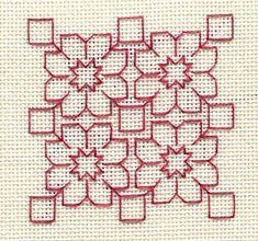Two-Handed Stitcher: Blackwork in Red = Rackwork? Kasuti Embroidery, Swedish Embroidery, Diy Embroidery Patterns, Cross Stitch Embroidery, Cross Stitching, Paper Embroidery, Doily Patterns, Motifs Blackwork, Blackwork Cross Stitch