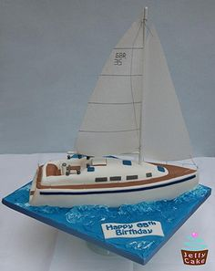 A 65th Birthday Cake modelled on a Starlight35 Yacht.