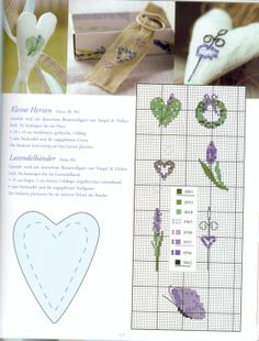 cross stitch pattern for lavender, butterfly, hearts and wreath motifs Quilt Stitching, Cross Stitching, Cross Stitch Embroidery, Cross Stitch Heart, Cross Stitch Flowers, Cross Stitch Designs, Cross Stitch Patterns, Lavender Bags, Rico Design