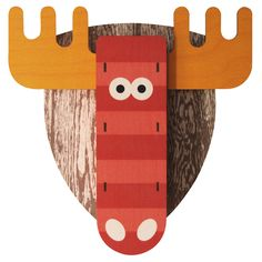 Modern Moose 3D Snoutrageous in Red Wall Art, made in USA, laser cut plywood, printed with non-toxic inks, pre-drilled hole for wall hanging.