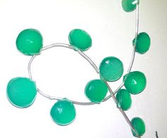 """Natural Green Onyx Faceted Hearts Briolette Gemstone Beads 7MM to 15MM AAA 8"""" #Unbranded"""