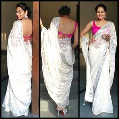 white - rani gorgeous white saree or sari with pink blouse Indian Fashion Trends, India Fashion, Ethnic Fashion, Asian Fashion, Bollywood Designer Sarees, Bollywood Fashion, Indian Dresses, Indian Outfits, Saree Blouse Designs