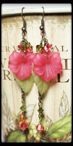 Handmade Jewelry Earrings Beaded Flowers Leaf Leaves Lucite Crystal Pink Sage Celery Green Antique Brass Long Chain...Gladiola